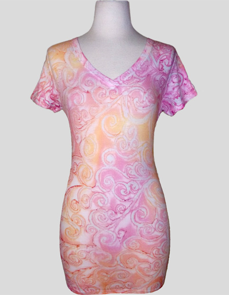 Women's Handpainted Cap Sleeve V-neck