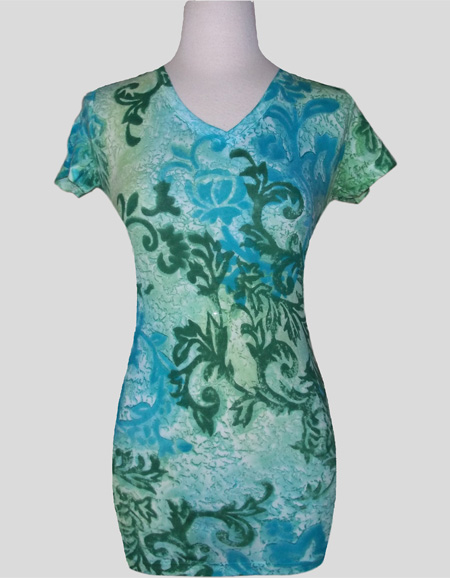 Women's Handpainted Short Sleeve V-neck
